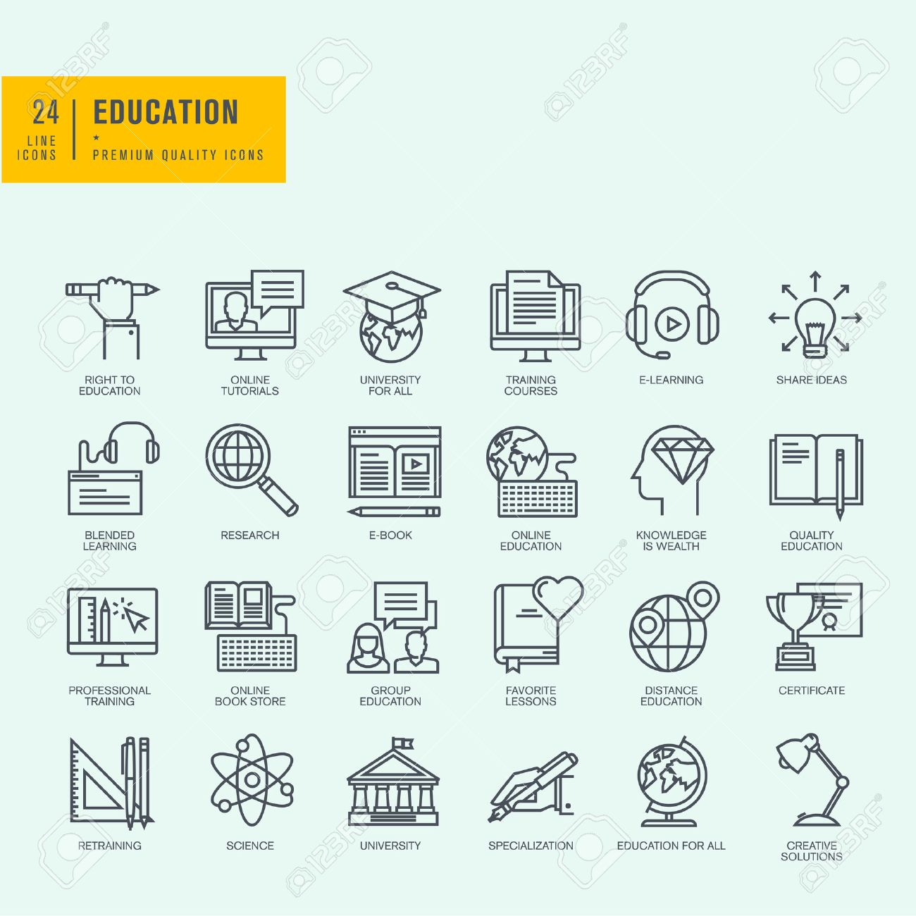 Thin line icons set icons for online education online tutorials icons for online education online tutorials training courses online book store baditri Gallery