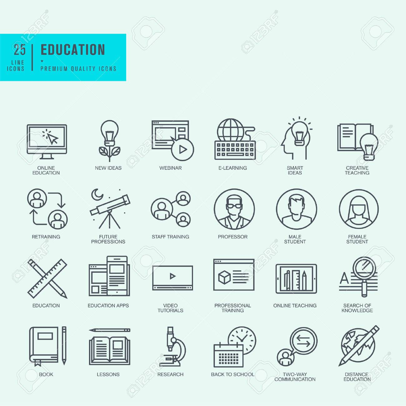 Thin line icons set. Icons for online education video tutorials training courses. Stock Vector - 41717821