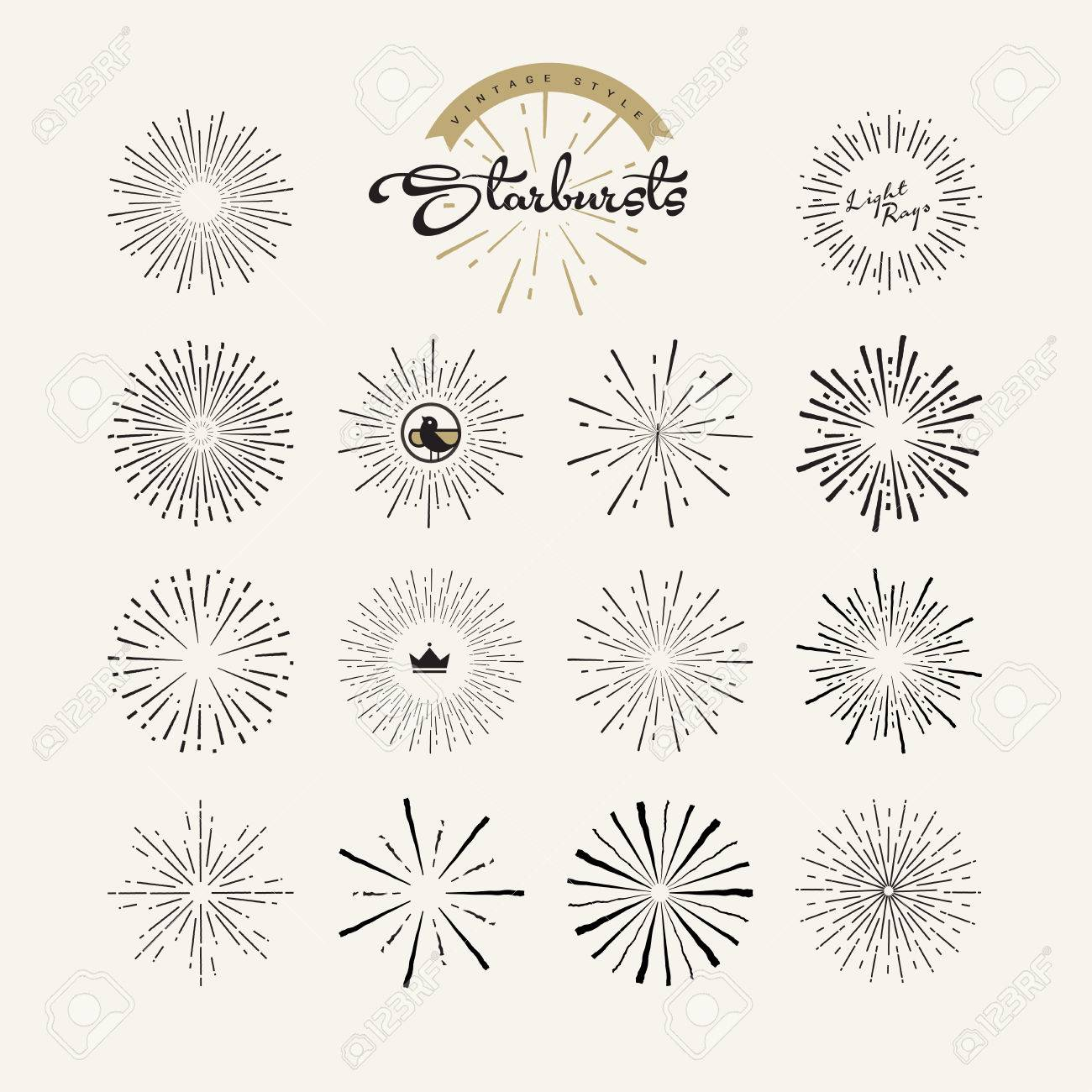 Starbursts Vintage Style Design Elements For Graphic And Web ... for Vector Light Rays Vintage  539wja
