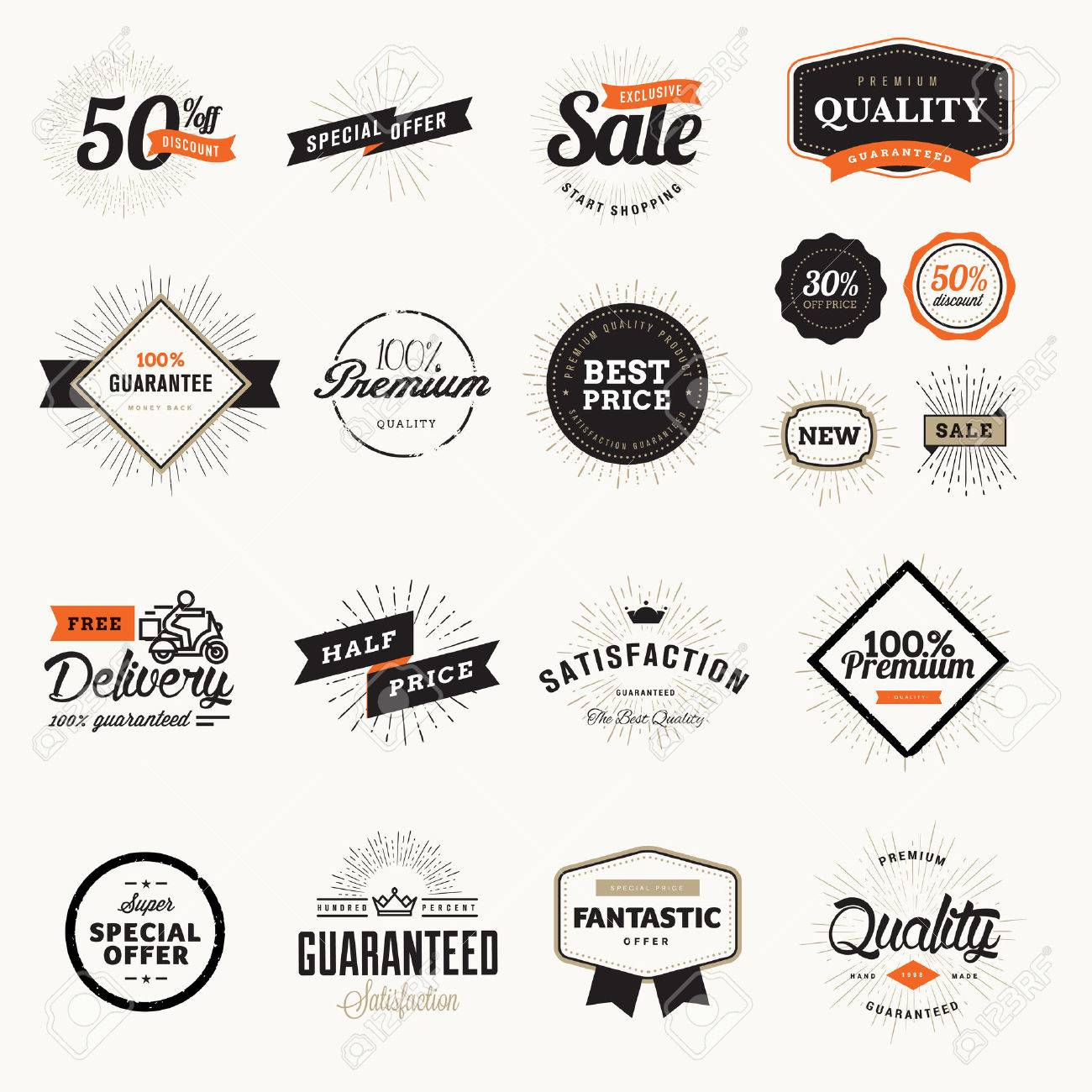 6c8b591d73 Set di distintivi e adesivi di qualità premium vintage. Illustrazioni  vettoriali per il commercio elettronico, la promozione dei prodotti, ...