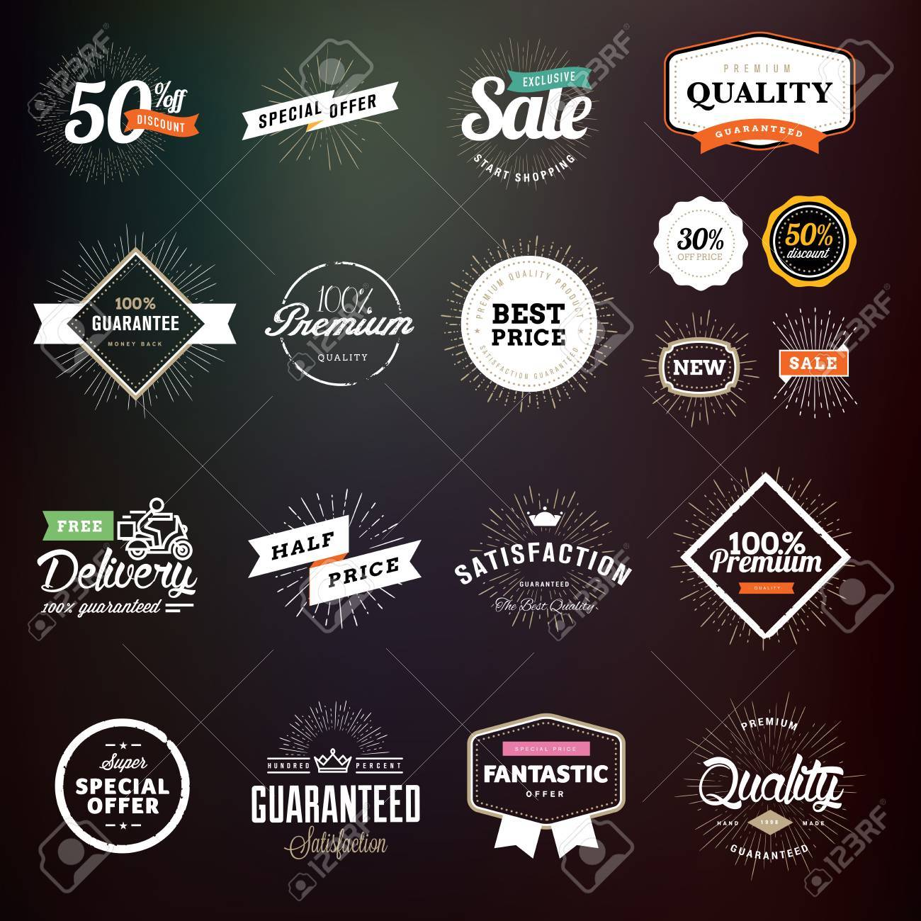 c553ae7bf6 Raccolta dei distintivi di qualità premium e le etichette per i  progettisti. Illustrazioni vettoriali per il commercio elettronico, la  promozione dei ...