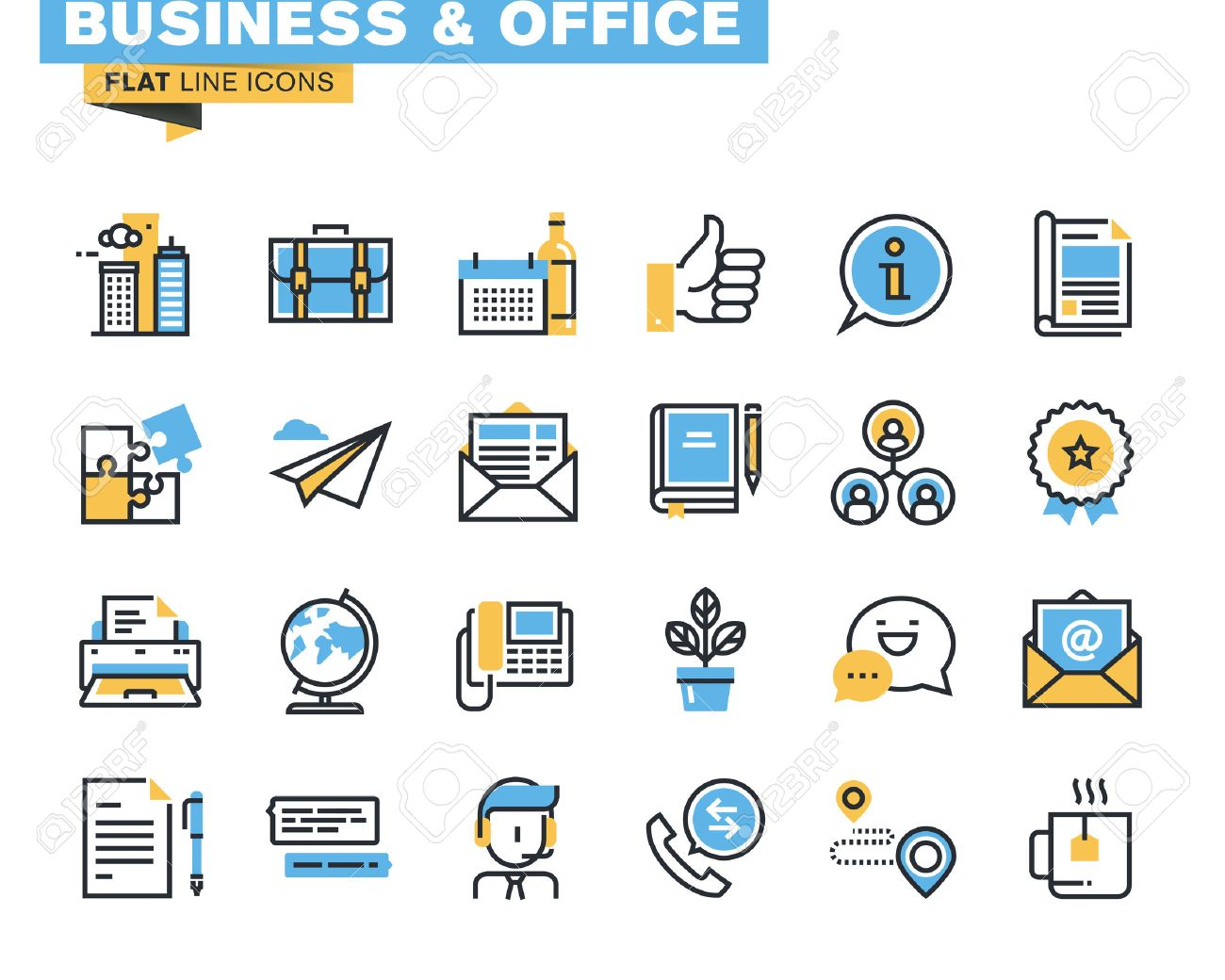 Trendy Flat Line Icon Pack For Designers And Developers. Icons ...