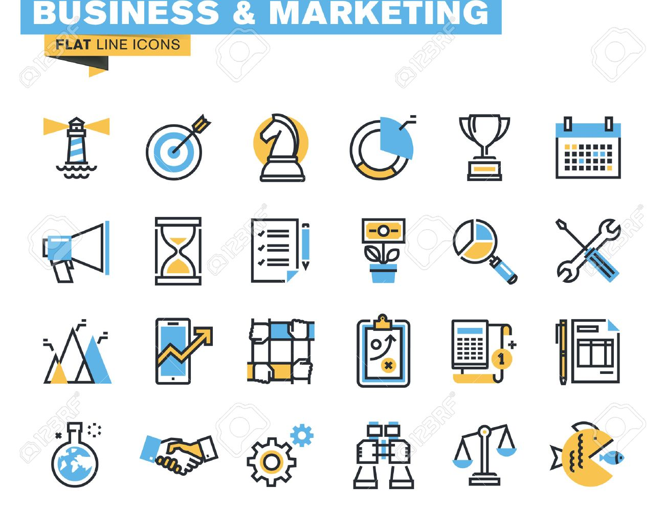 Trendy flat line icon pack for designers and developers. Icons for business, marketing, management, strategy, planning, analytics, finance, success, teamwork, market research, products and services development, for websites and mobile websites and apps. - 45816200