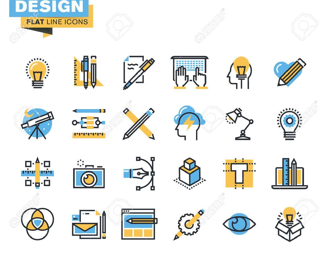 Trendige Flache Linie Icon Pack Für Designer Und Entwickler. Icons ...