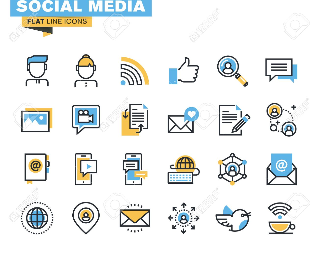Trendy flat line icon pack for designers and developers. Icons for social media, social network, communication, digital marketing, for websites and mobile websites and apps. - 45836709