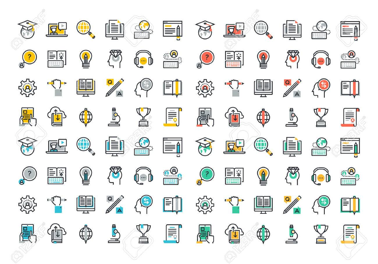 Flat line colorful icons collection of global education, e-learning, online training and courses, video tutorials, staff training, digital library, retraining and specialization. Stock Vector - 46276641