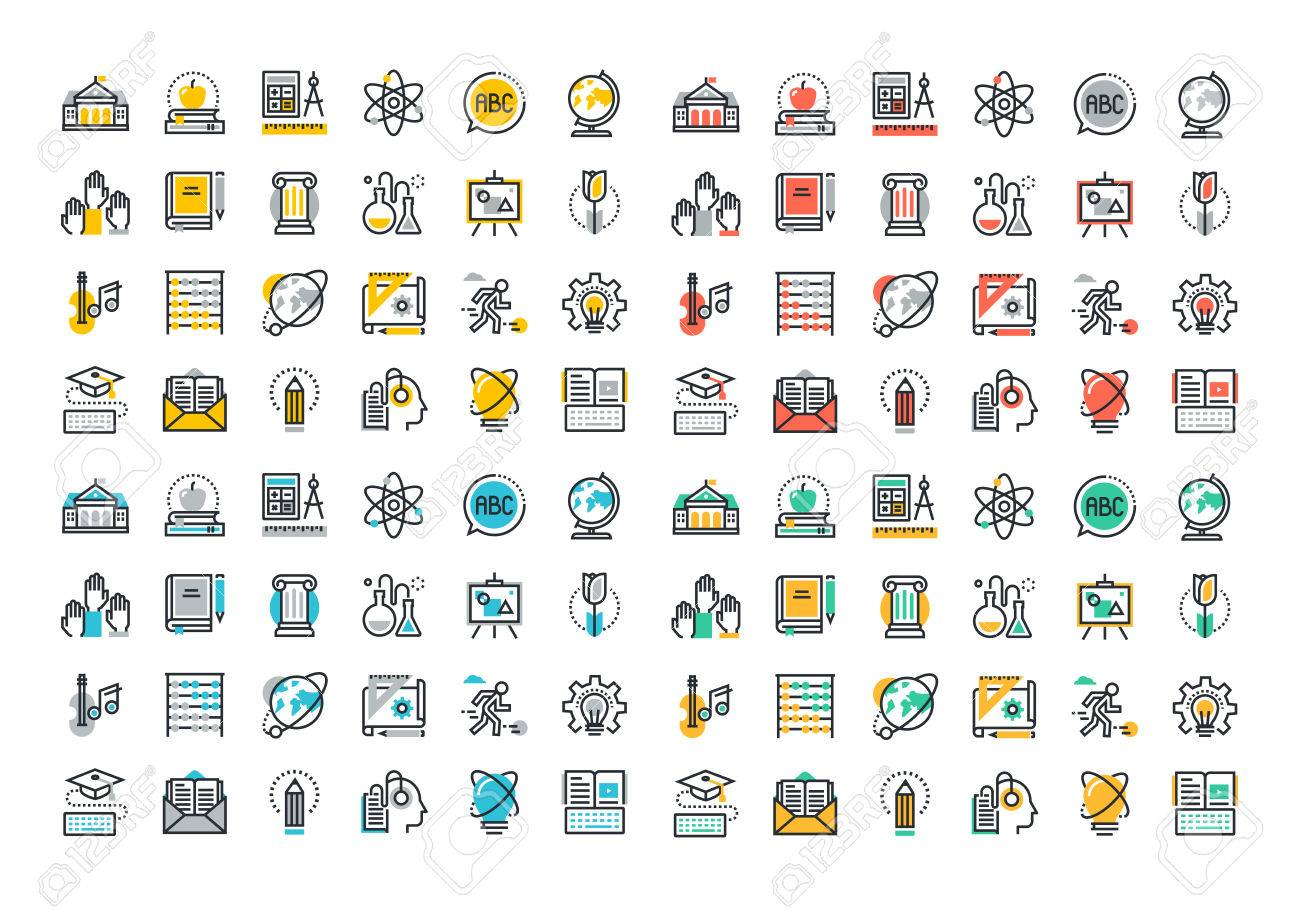 Flat line colorful icons collection of education and knowledge theme, basic and elementary study, university and college courses, distance education, webinar audio course, literature and e-book. - 46276642