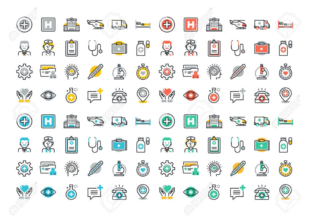 Flat line colorful icons set of healthcare and medicine, medical services and support, health care facility, emergency medical services, transport of patients, diagnosis, treatment and laboratory. Stock Vector - 46276643
