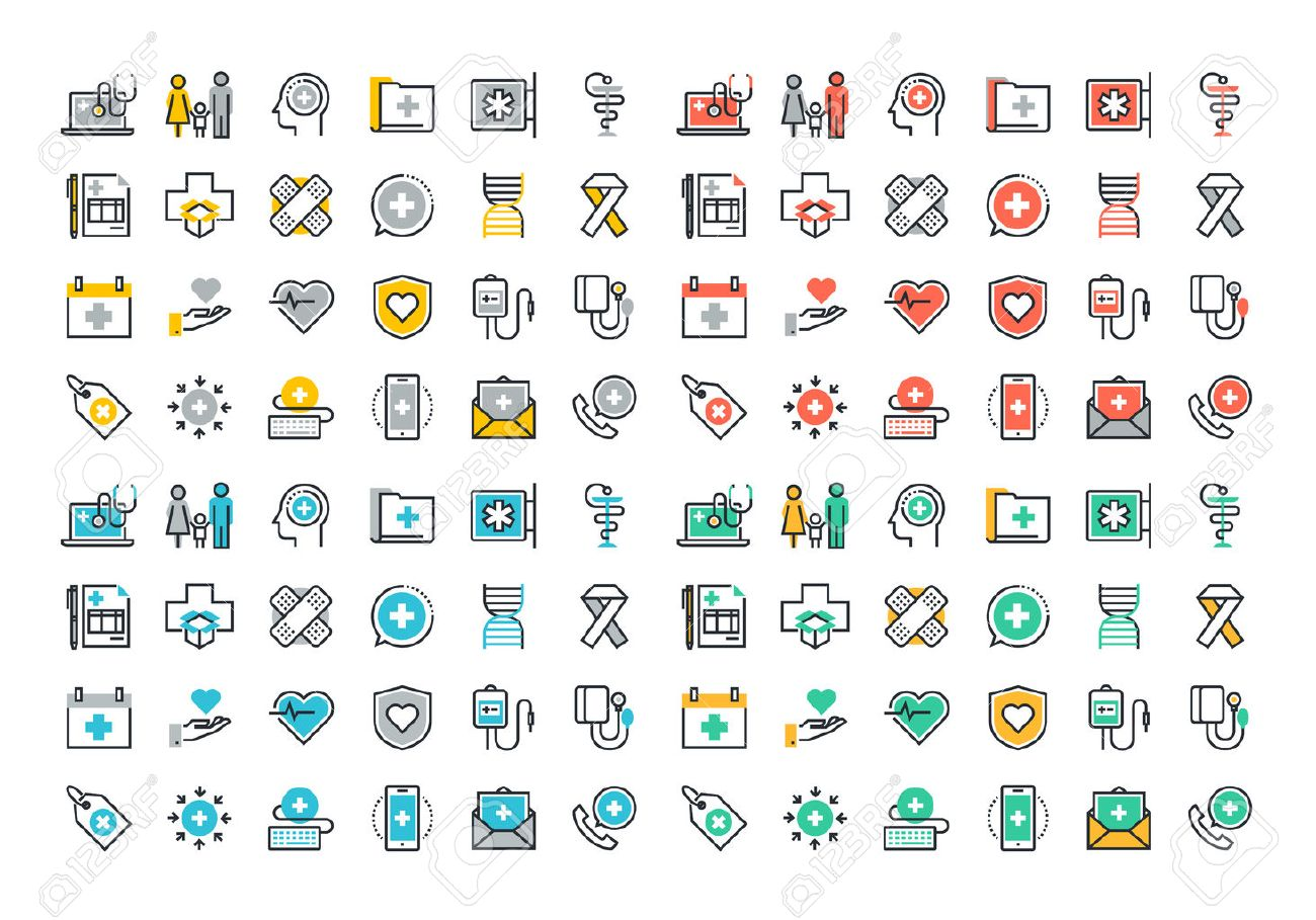 Flat line colorful icons collection of healthcare services, online medical support, health insurance, pharmacy and family health care, disease prevention Stock Vector - 46276685