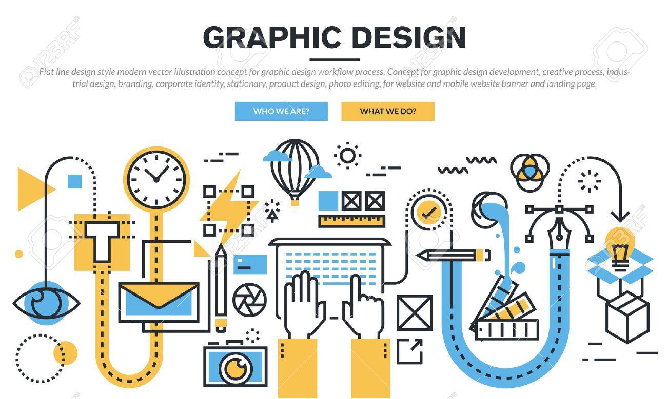 flat line design concept for graphic design workflow process