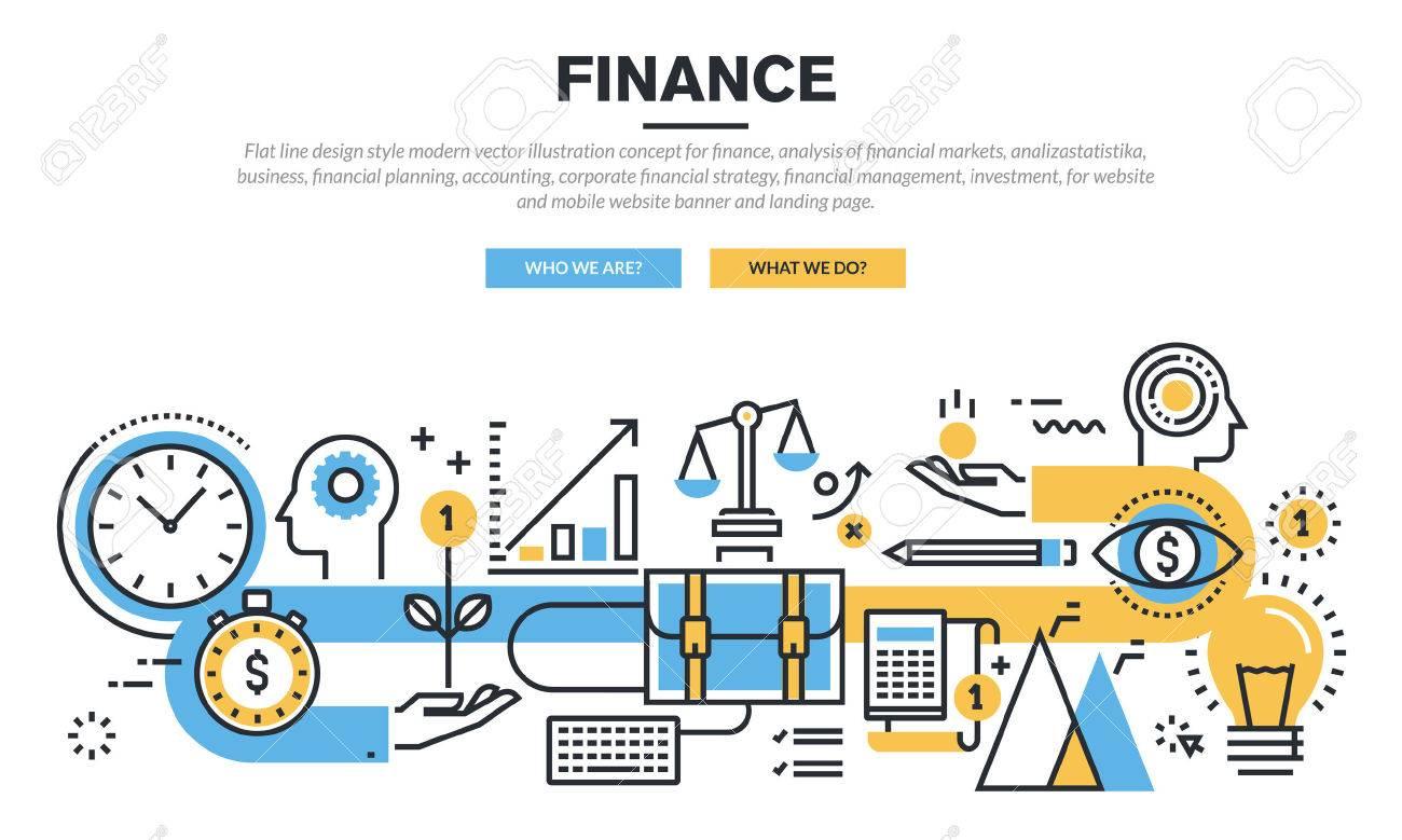 Flache Linie Design-Konzept Für Die Bereiche Finanzen, Marktanalyse ...