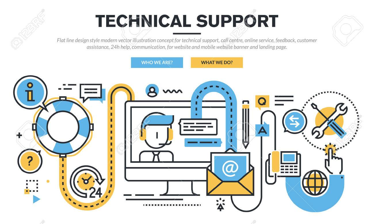 Flat line design vector illustration concept for technical support, call centre, online service, feedback, customer assistance, 24h help, communication, for website banner and landing page. Stock Vector - 47237709