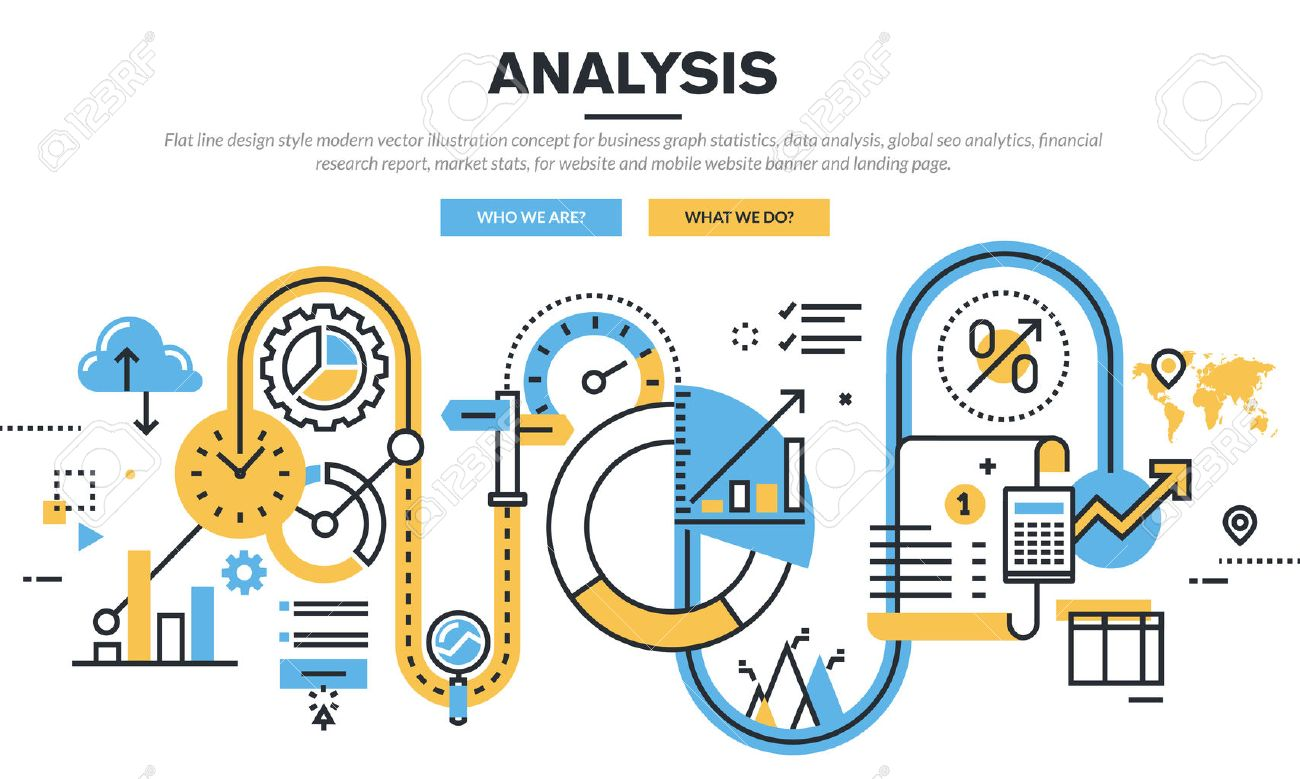 Flat line design vector illustration concept for business graph statistics, data analysis, global seo analytics, financial research report, market stats, for website banner and landing page. - 47237787