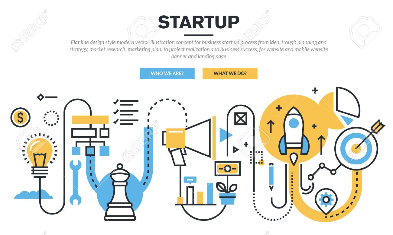 Flat line design concept for business startup process from idea, trough planning and strategy, market research, marketing plan, to realization and business success, for website banner and landing page Stock Vector - 47237791