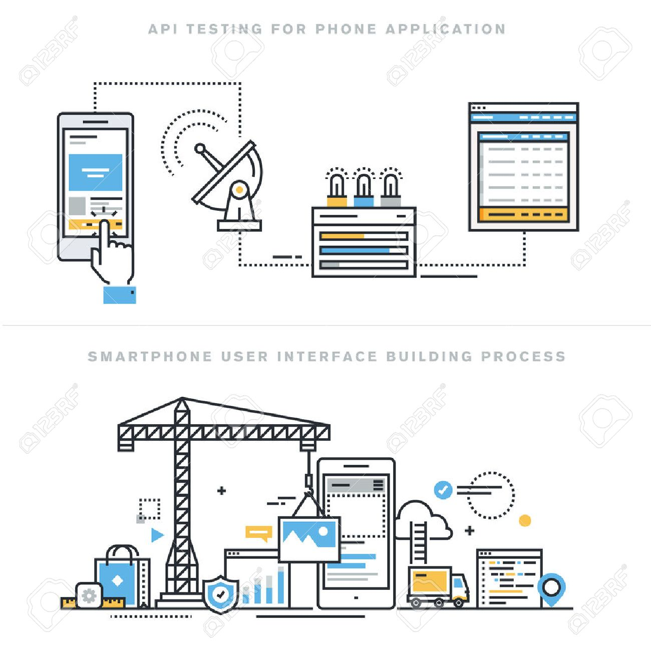 Flat line design vector illustration concepts for software API prototyping and testing for smartphone, app develop with API interface, smartphone interface building process, for website banner. Stock Vector - 47546448