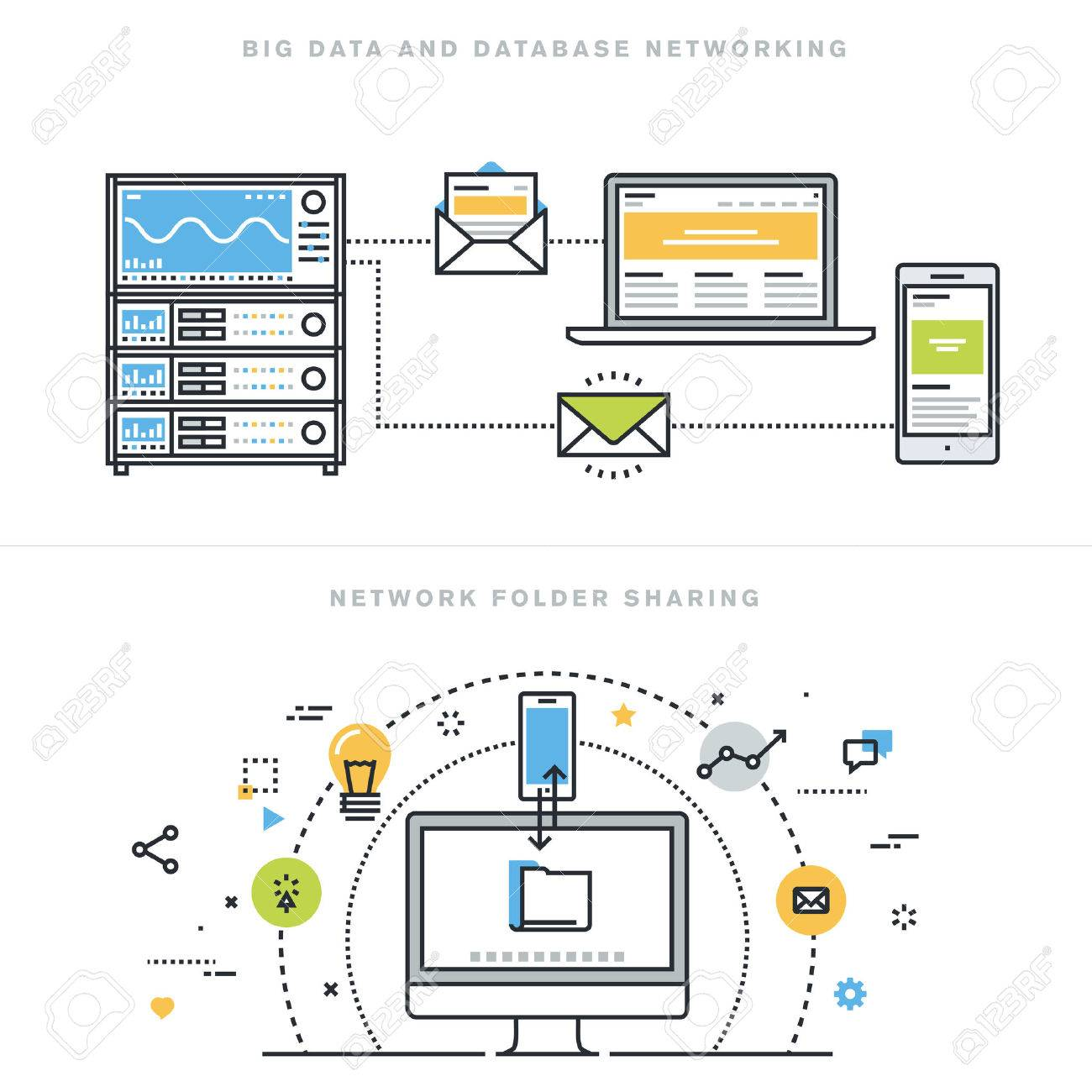 Flat line design vector illustration concepts for big data and data base networking, network folder sharing, database analysis, database server, computer network technology, for website banner. Stock Vector - 47546449