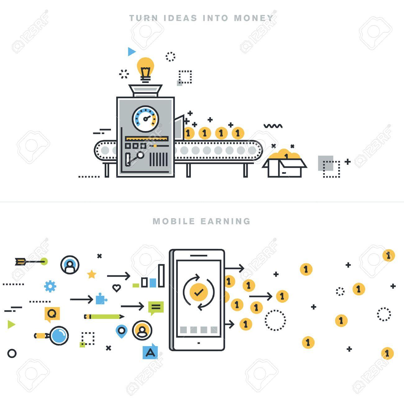 Flat Line Design Vector Illustration Concepts For Earning Money Online,  Mobile Earning, Business Ideas