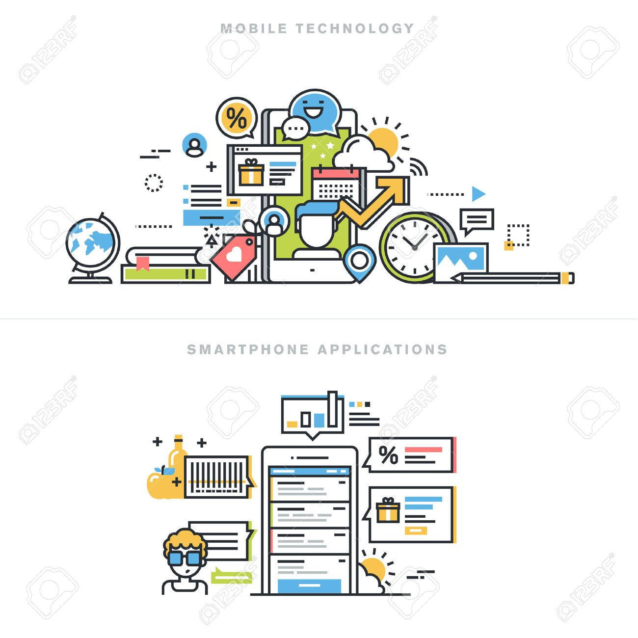 Flat line design vector illustration concepts for mobile technology, smartphone application, mobile website and app design and development, mobile phone services, for website banner and landing page. Stock Vector - 47546793