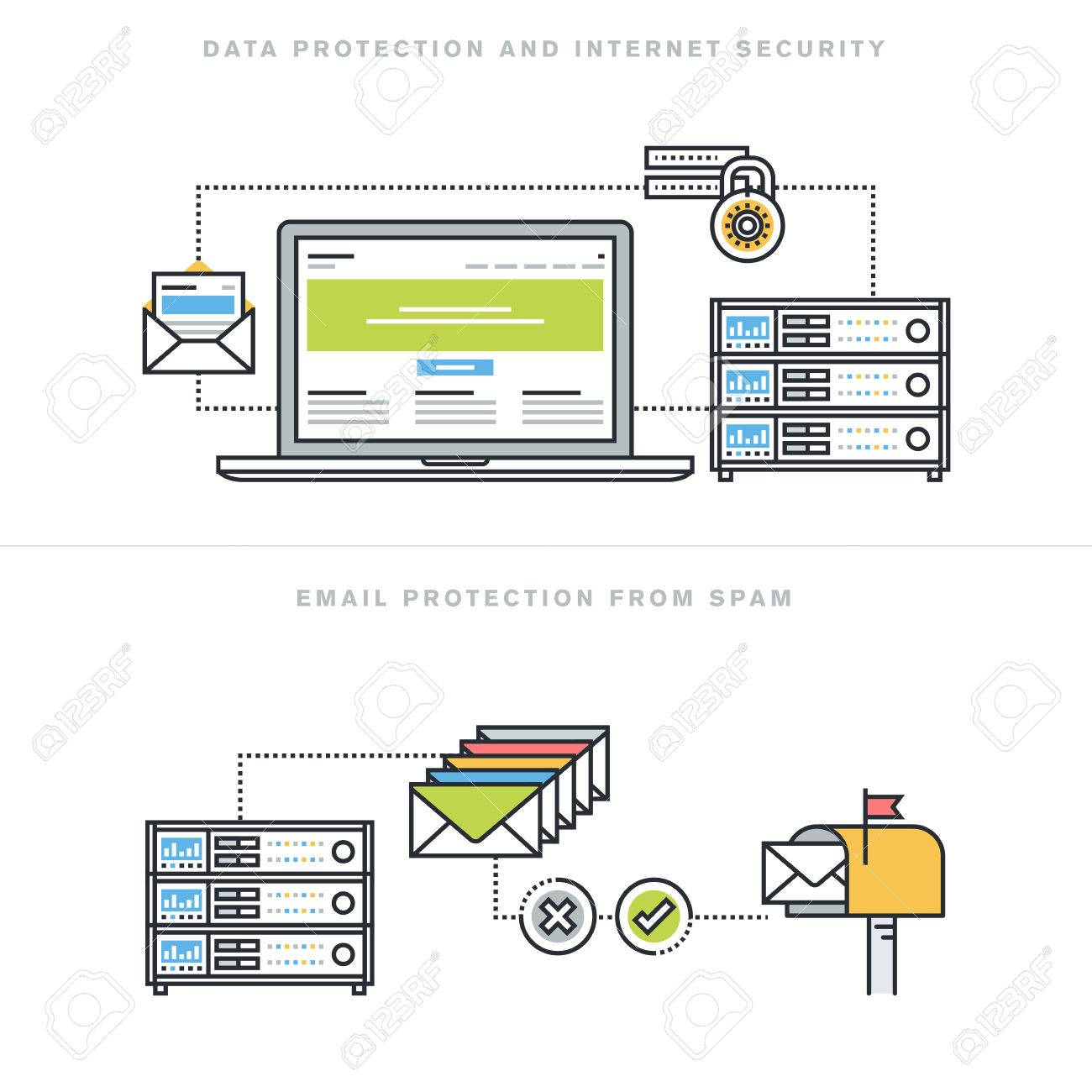 Flat line design vector illustration concepts for data protection and internet security, online safety, email protection from spam, email security software, for website banner and landing page. Stock Vector - 47546794