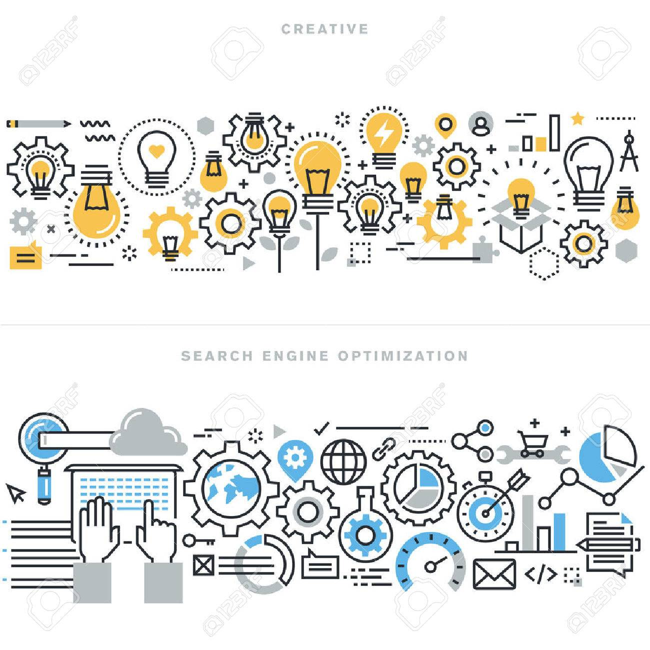 Flat line design vector illustration concepts for creative process workflow, marketing and design agency, website and app design and development, search engine optimization, for website banner. Stock Vector - 47546798