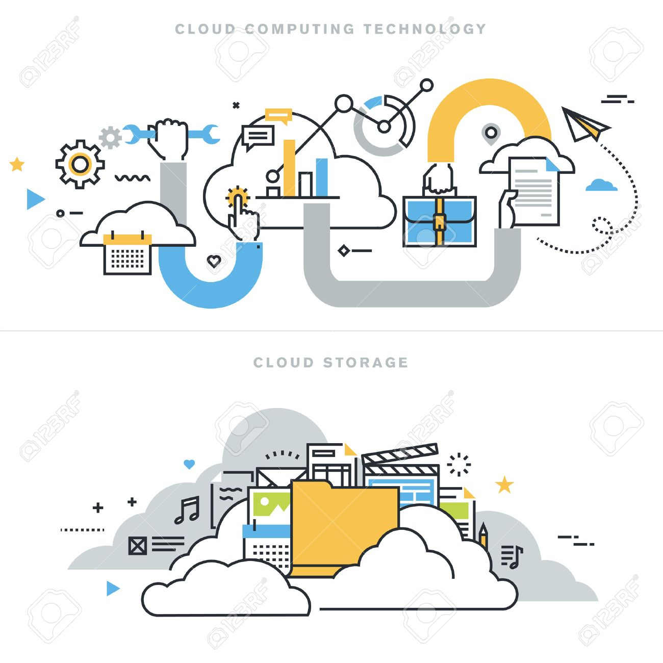 Flat line design vector illustration concepts for cloud computing technology, cloud storage, cloud solutions, security and availability, for website banner and landing page. Stock Vector - 47892791
