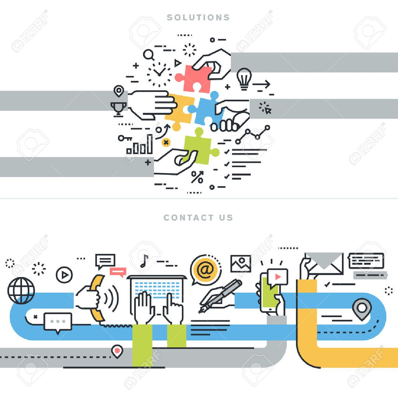 Flat line design vector illustration concepts for website banners for contact us and solutions web page, company contact information, business solutions and services, consulting, strategy and planning Stock Vector - 47892792