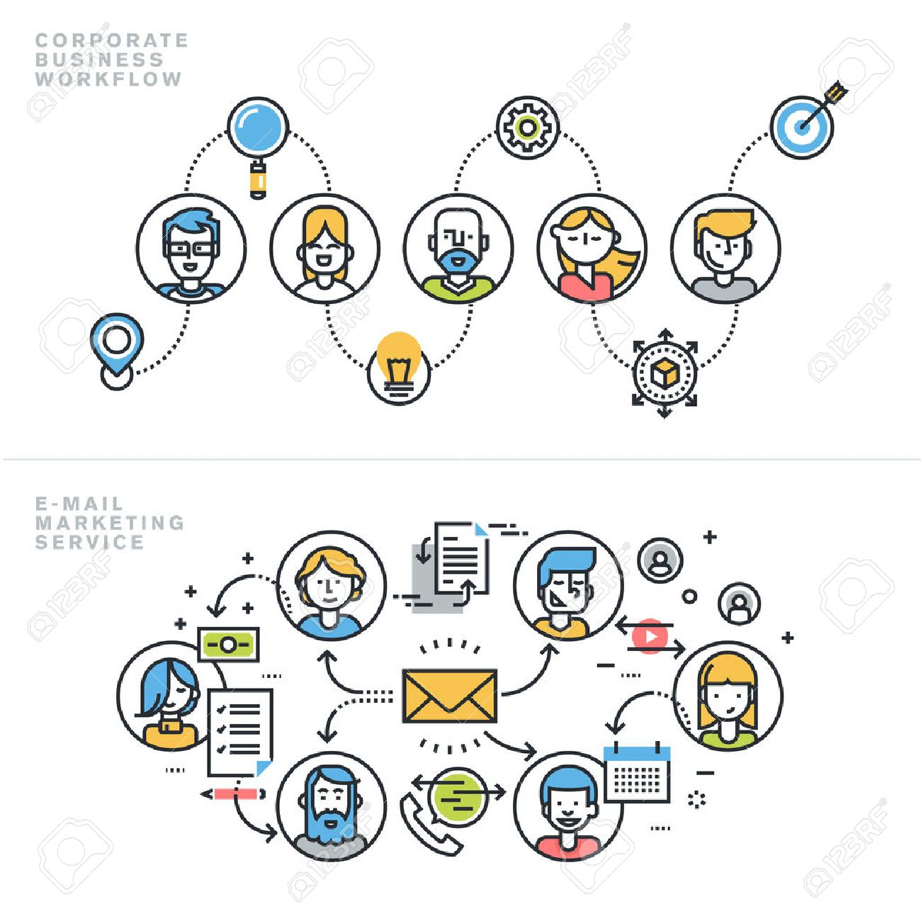 Flat line design concepts for corporate business workflow, company profile, teamwork, email marketing service, newsletter, customer relationship management, for website banner and landing page. Stock Vector - 47893159