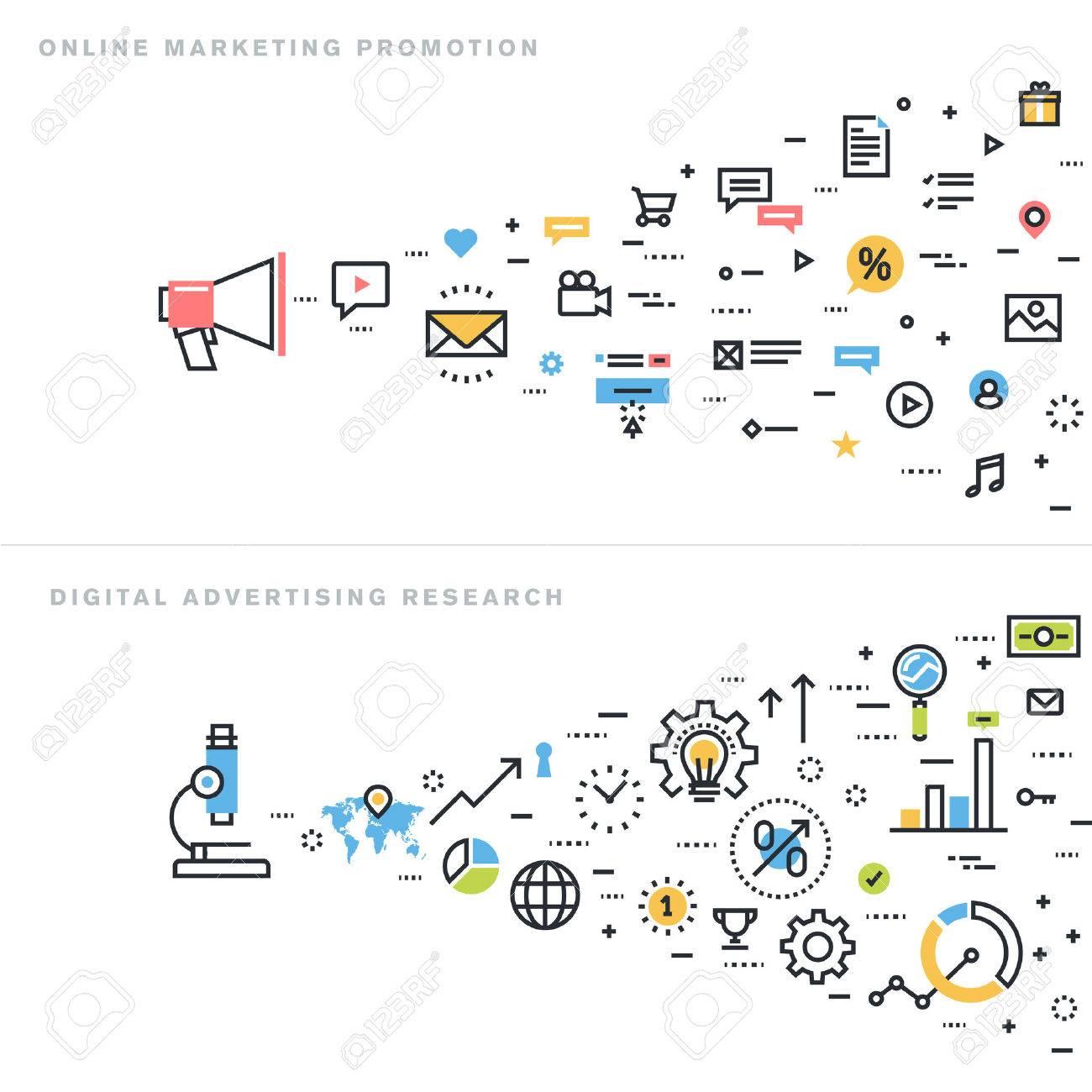 Flat line design vector illustration concepts for online marketing promotion, digital advertising research, market research, internet marketing, e-commerce, for website banner and landing page. Stock Vector - 47893160