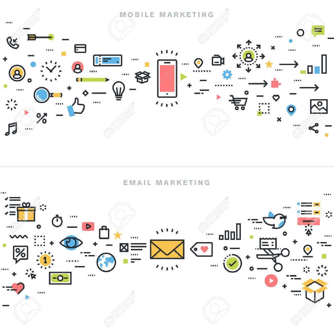 a244469311 Concepts De Conception De Ligne Plate Pour Le Marketing Mobile