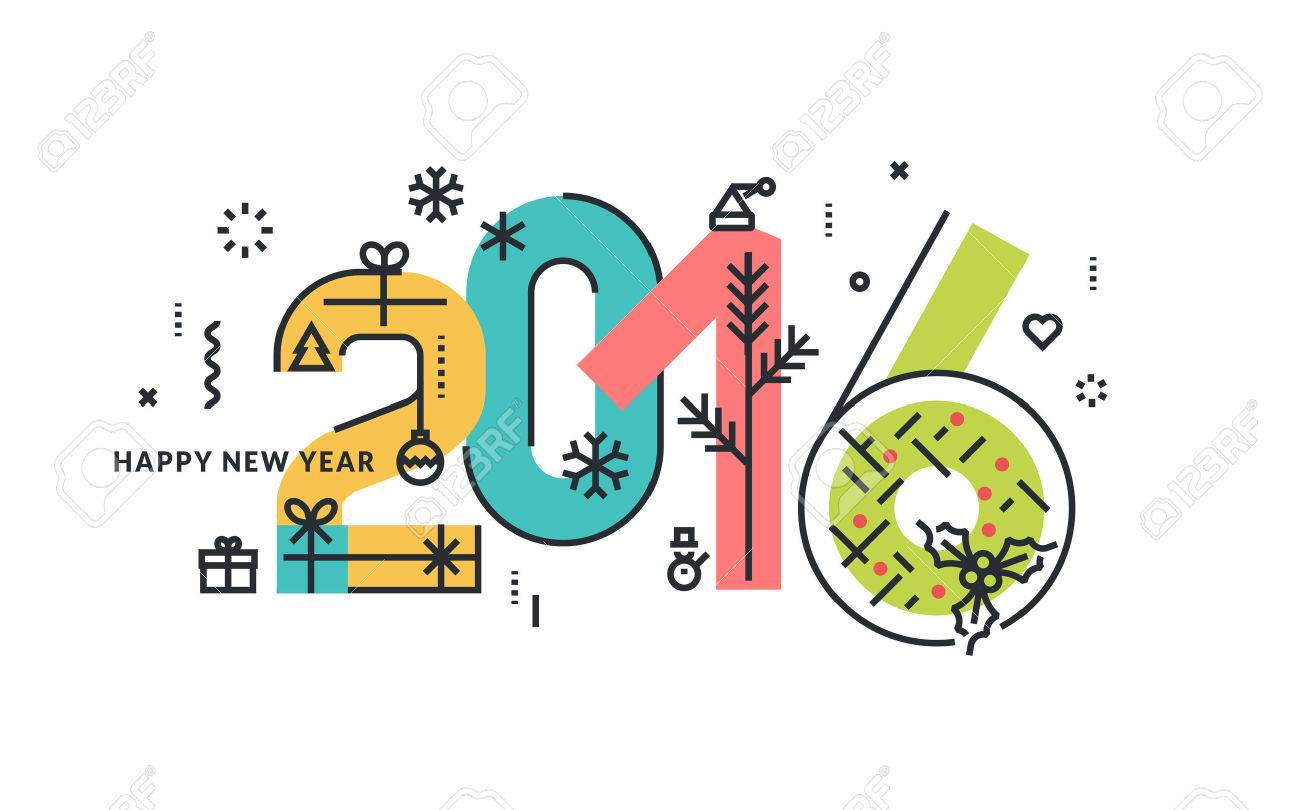 New Year and Christmas flat line design concept for greeting card and banner. Stock Vector - 47943153