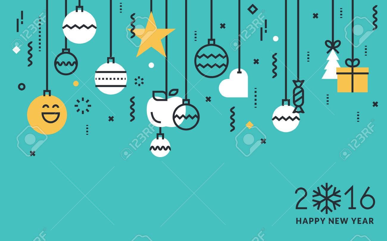 carte de voeux en ligne Ligne Flat Design Carte De Voeux Et Web Bannière Du Nouvel An