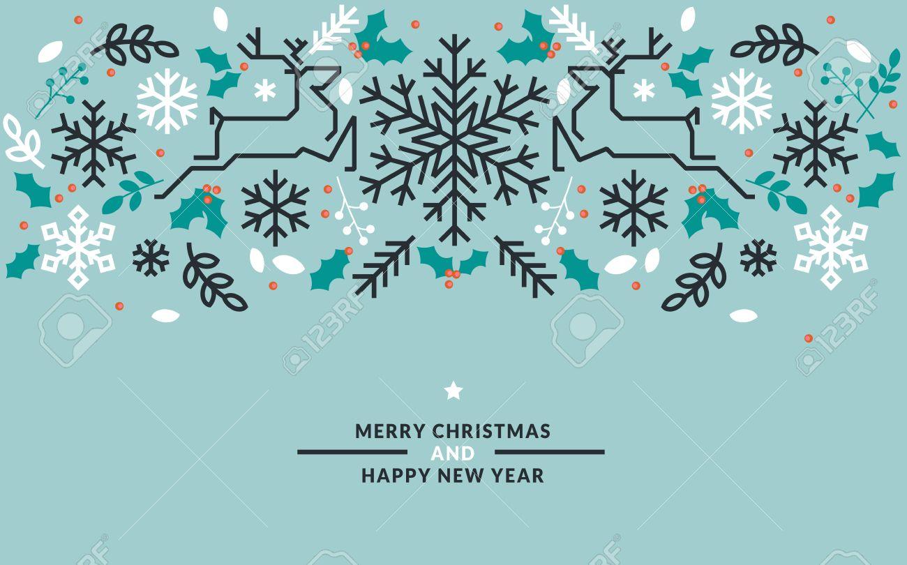 フラット ライン デザイン クリスマスと新年のグリーティング カード