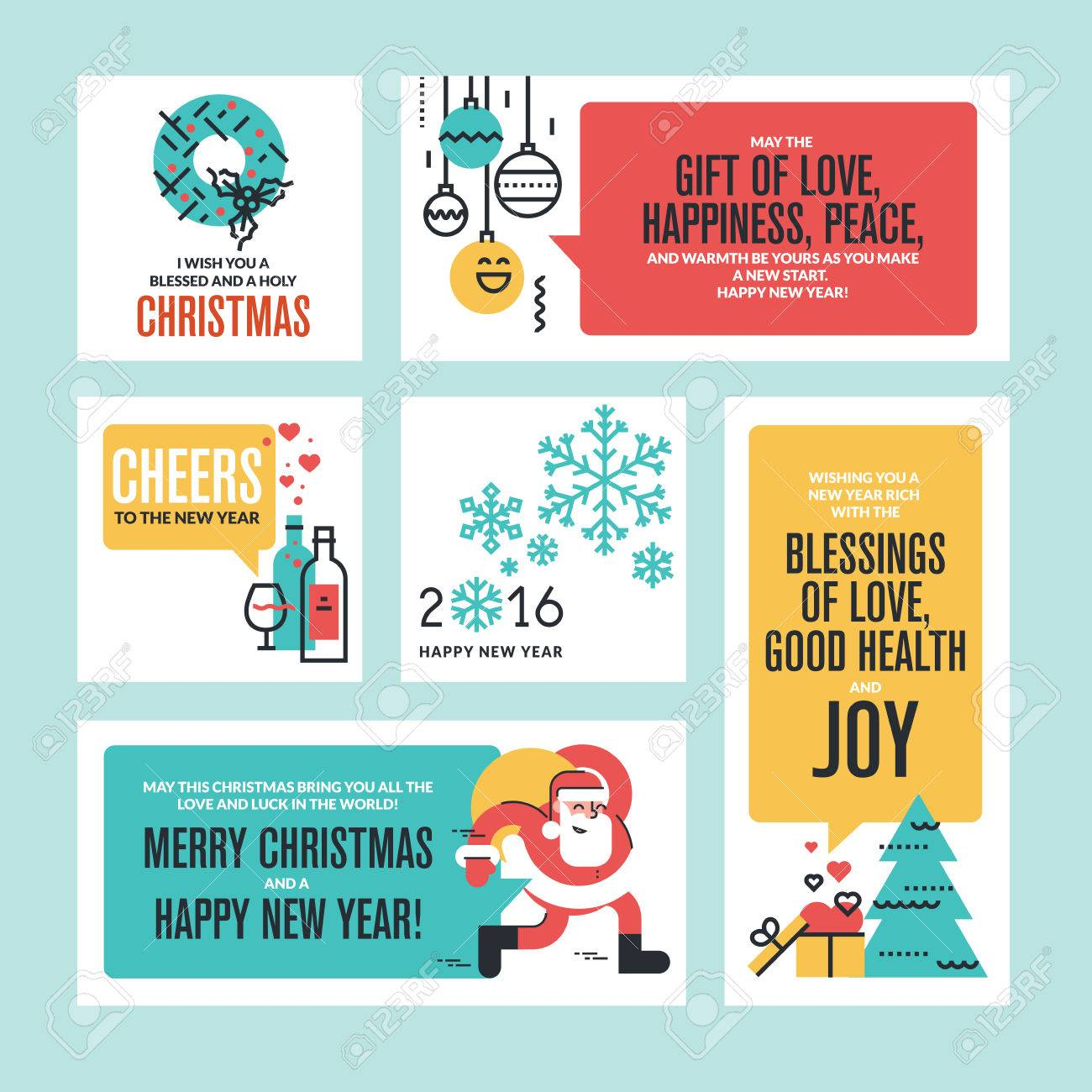 Christmas and new year greeting cards and banners set of flat christmas and new year greeting cards and banners set of flat line design vector illustrations m4hsunfo