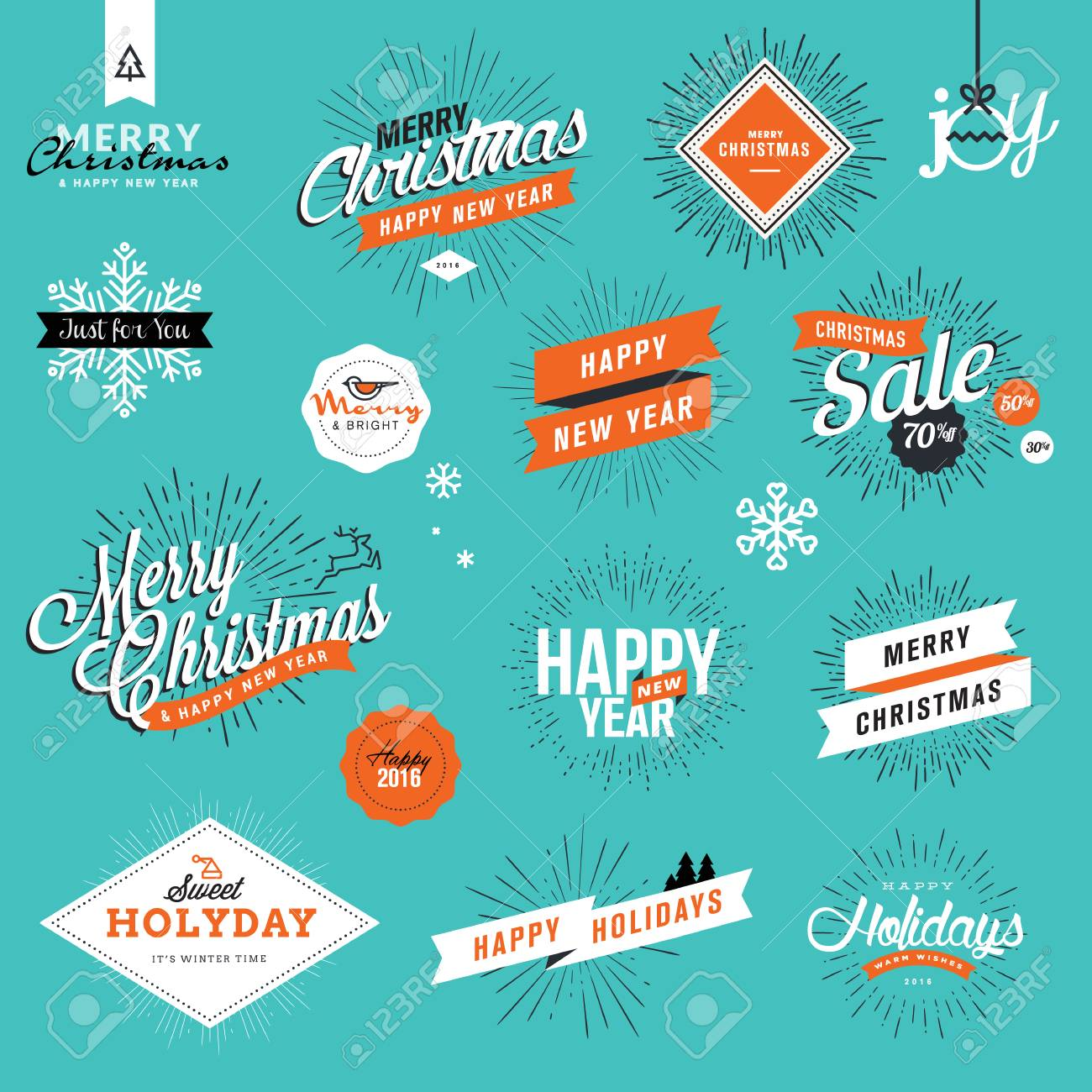 Set Of Vintage Christmas And New Years Labels And Badges For ...
