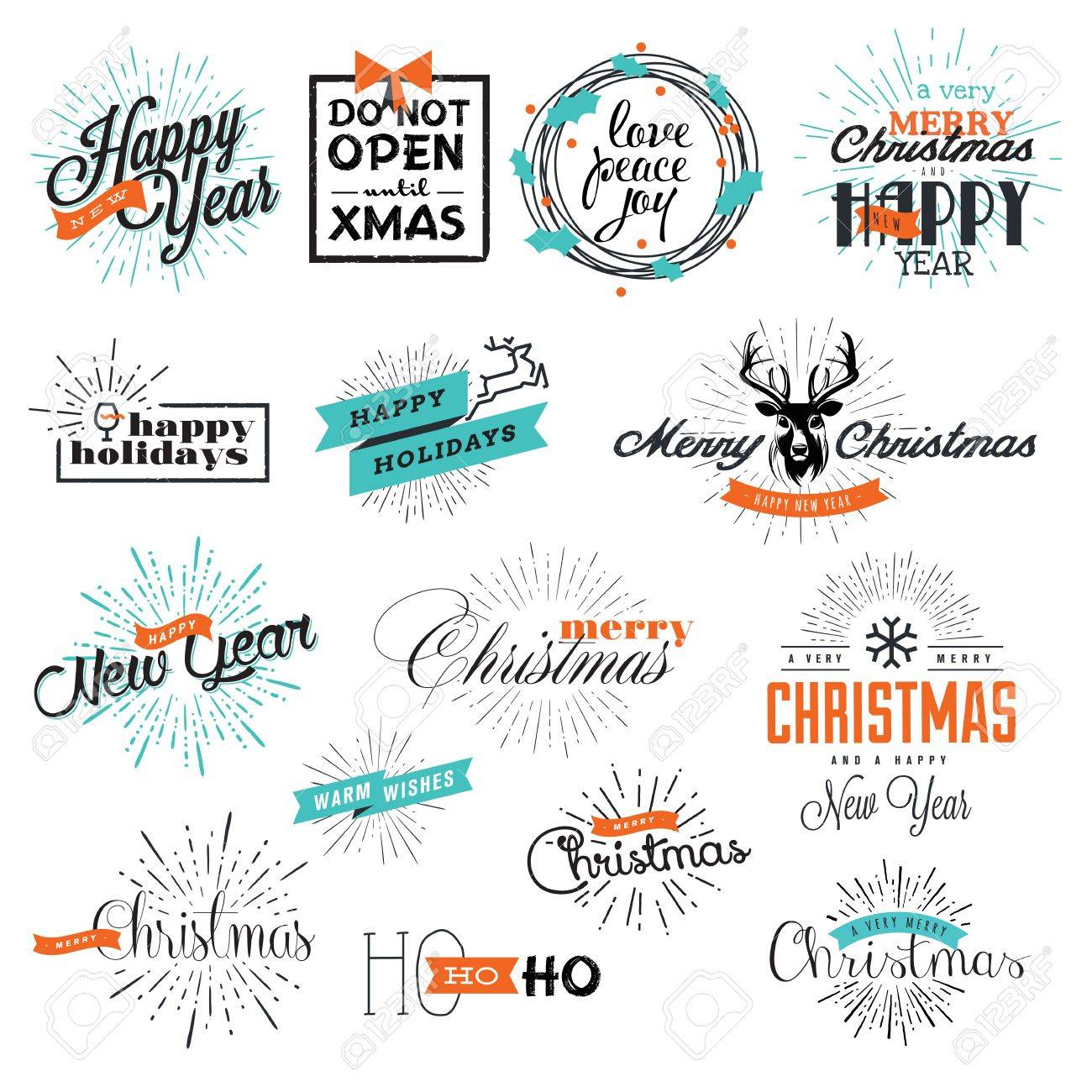 Set Of Vintage Christmas And New Years Labels And Elements For ...