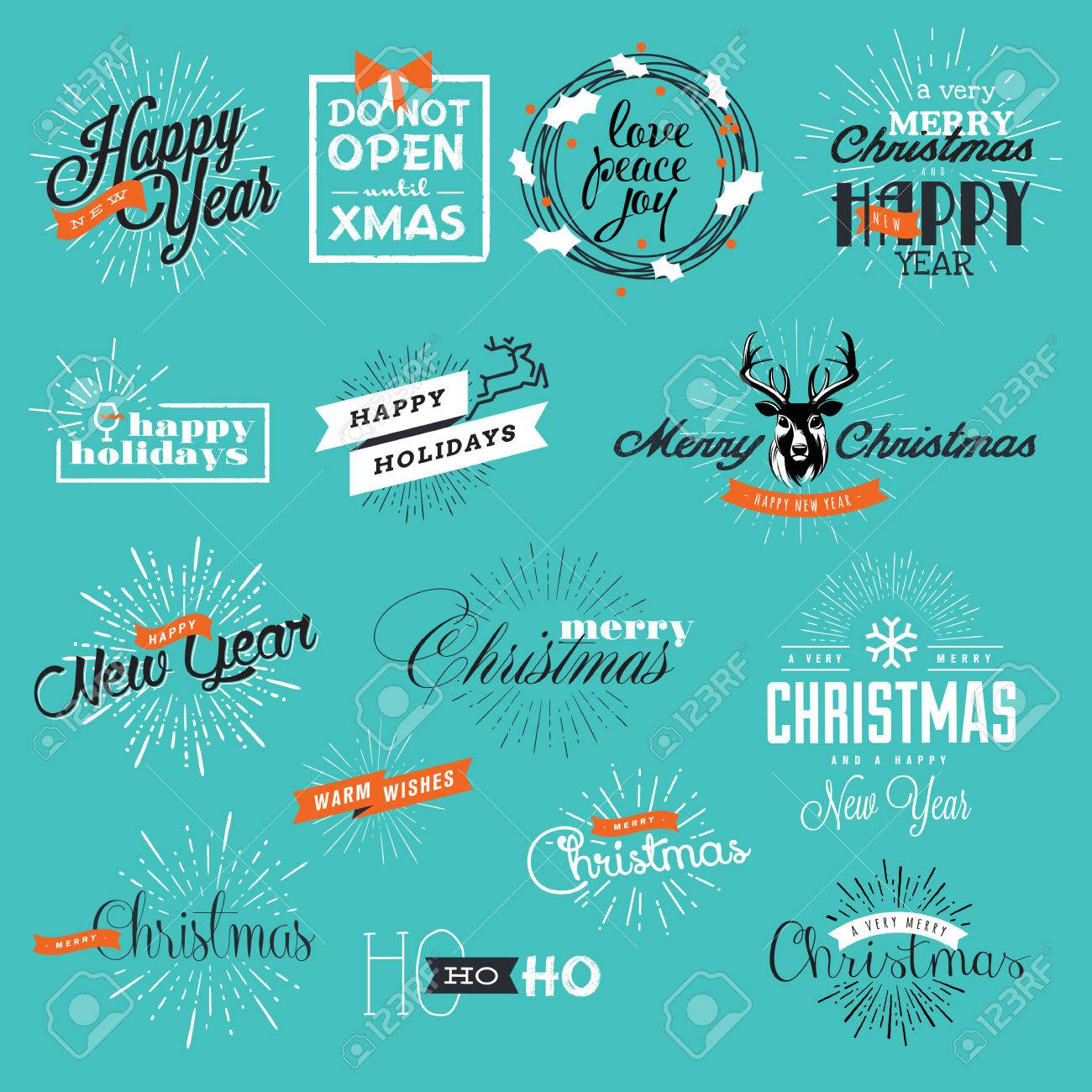 Christmas And New Years Vintage Style Signs For Greeting Cards ...
