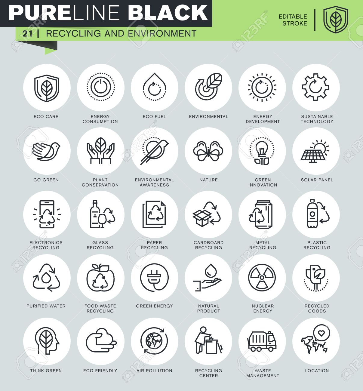 Thin line icons set of recycling, waste management, environmental protection, eco care. Icons for website and mobile website and apps with editable stroke. Stock Vector - 50911249