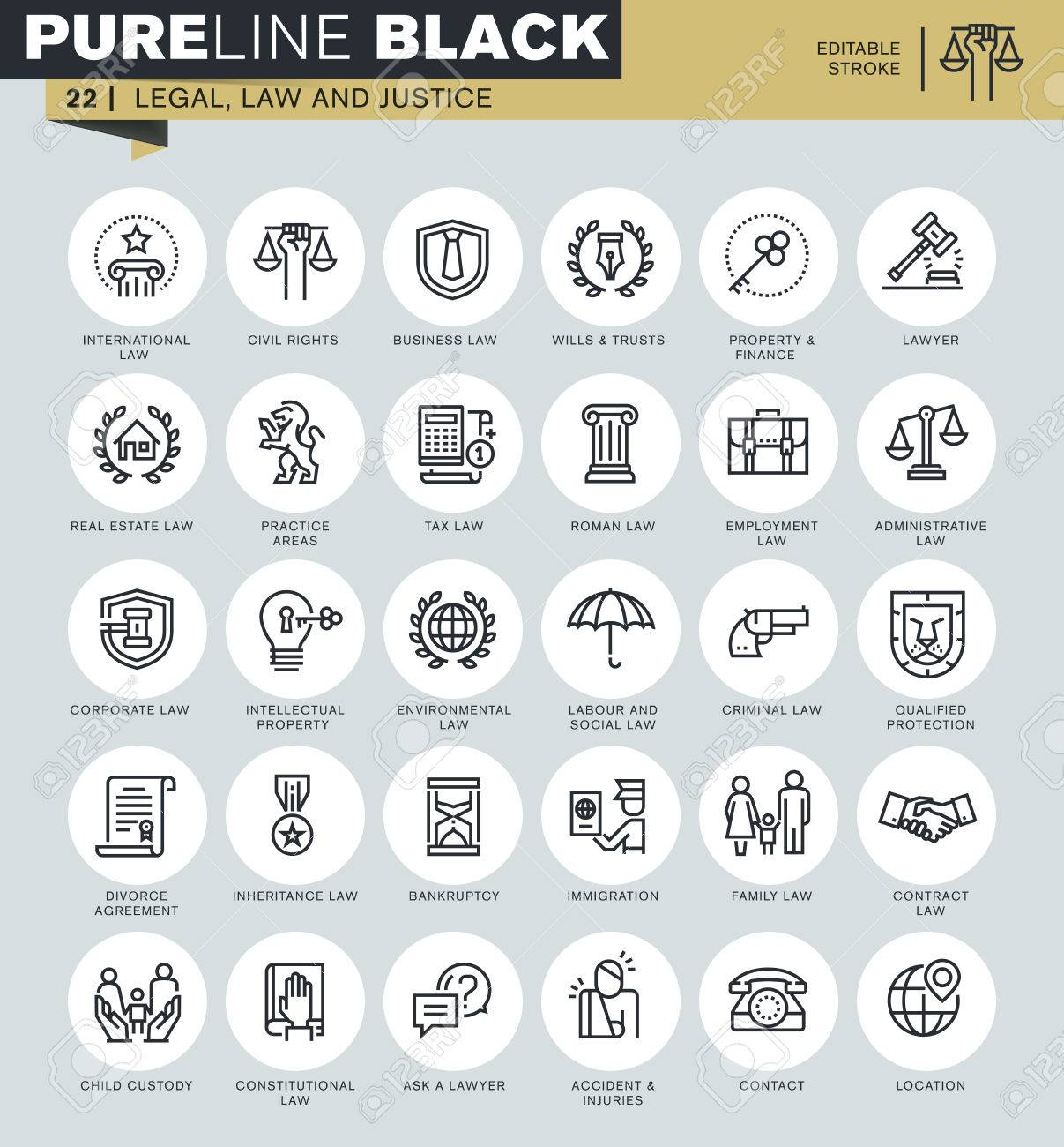 Thin line icons set of legal, law and justice. Icons for website and mobile website and apps with editable stroke. Stock Vector - 50911255