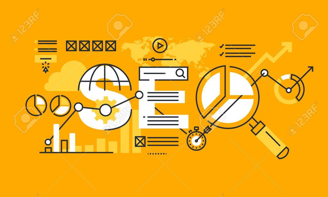 Thin line flat design banner of search engine optimization  Modern