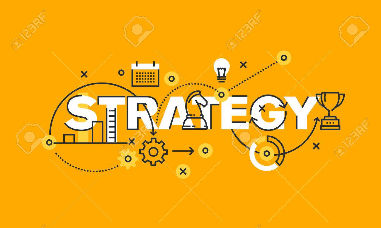 Thin line flat design banner of business and marketing strategy. Modern vector illustration concept of word strategy for website and mobile website banners, easy to edit, customize and resize. - 51306453