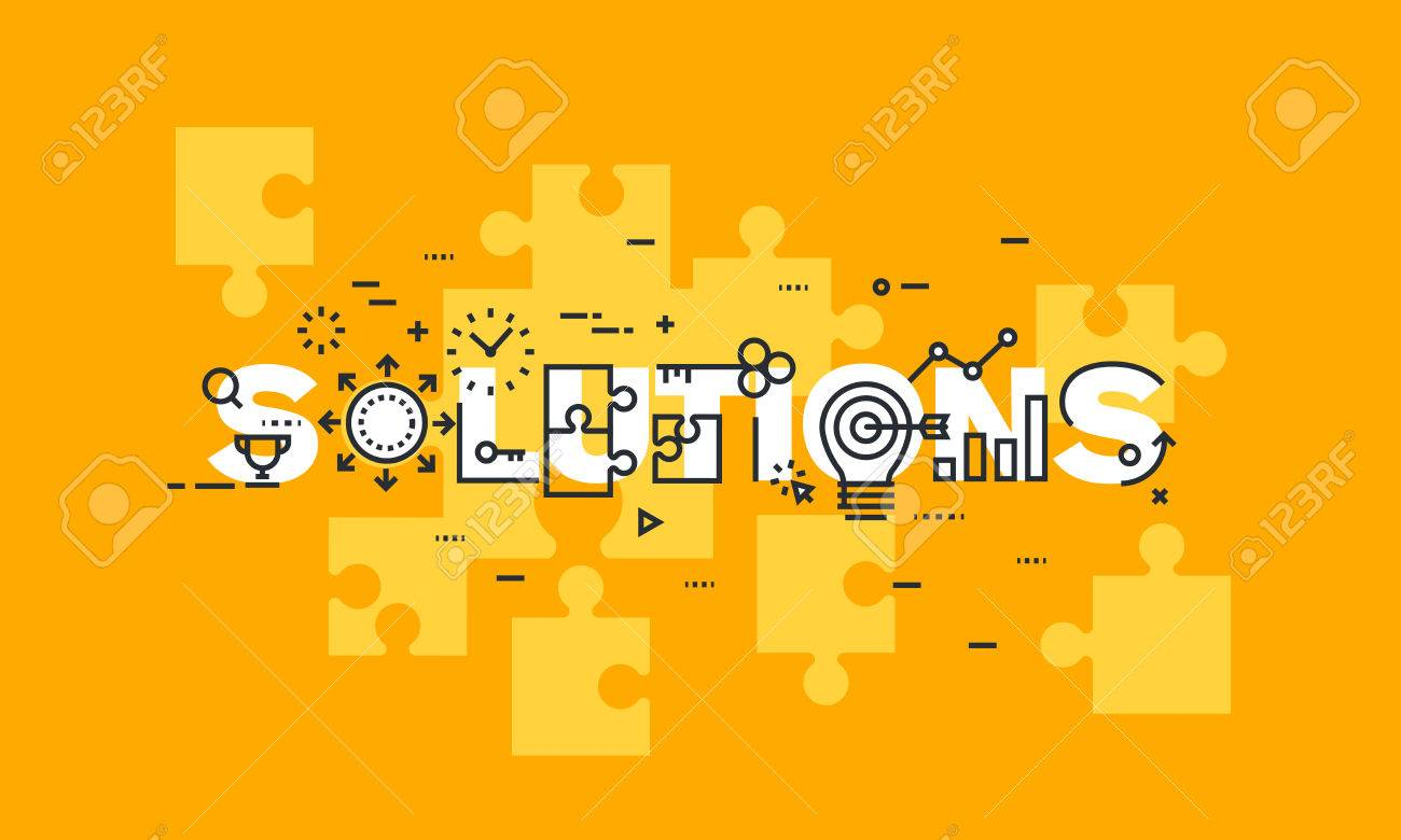Thin line flat design banner of business solutions. Modern vector illustration concept of word solutions for website and mobile website banners, easy to edit, customize and resize. - 51306455