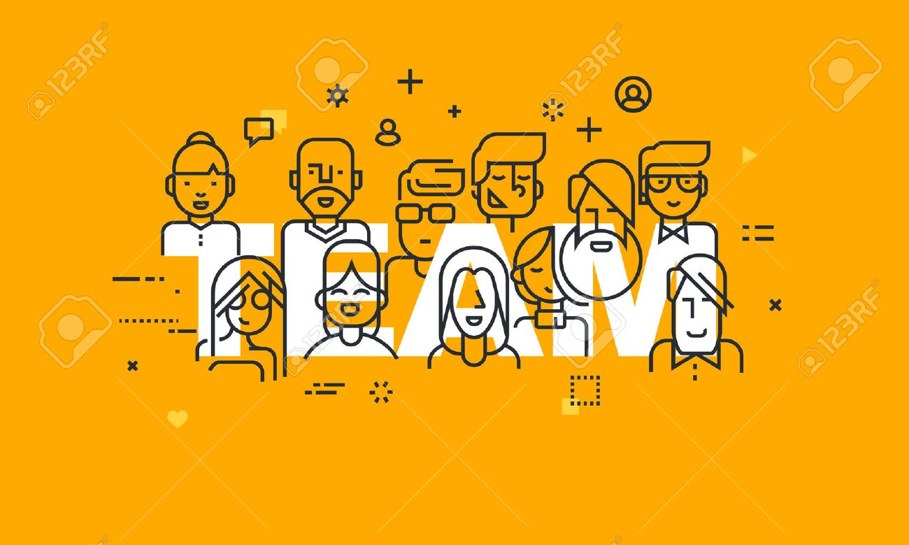 Thin line flat design banner of business people teamwork, human resources, career opportunities, team skills, management. Vector illustration concept of word team for web and mobile website banners. - 51310251
