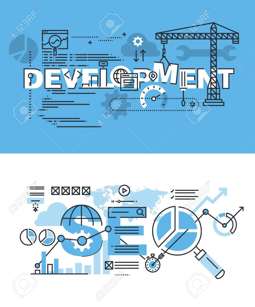 Set of modern vector illustration concepts of words development and SEO. Thin line flat design banners for website and mobile website, easy to use and highly customizable. Stock Vector - 51294919