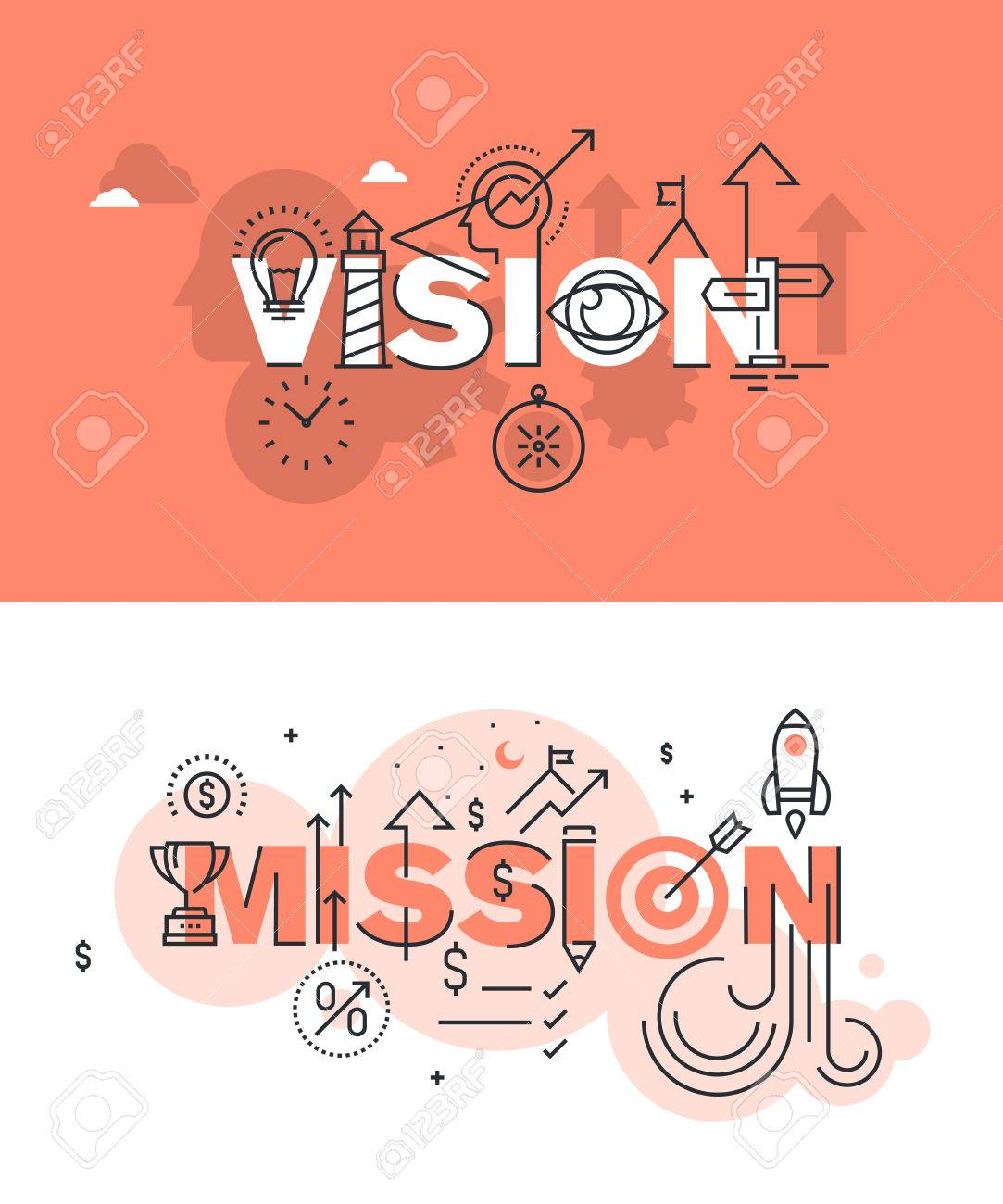 Set of modern vector illustration concepts of words vision and mission. Thin line flat design banners for website and mobile website, easy to use and highly customizable. Stock Vector - 51294584