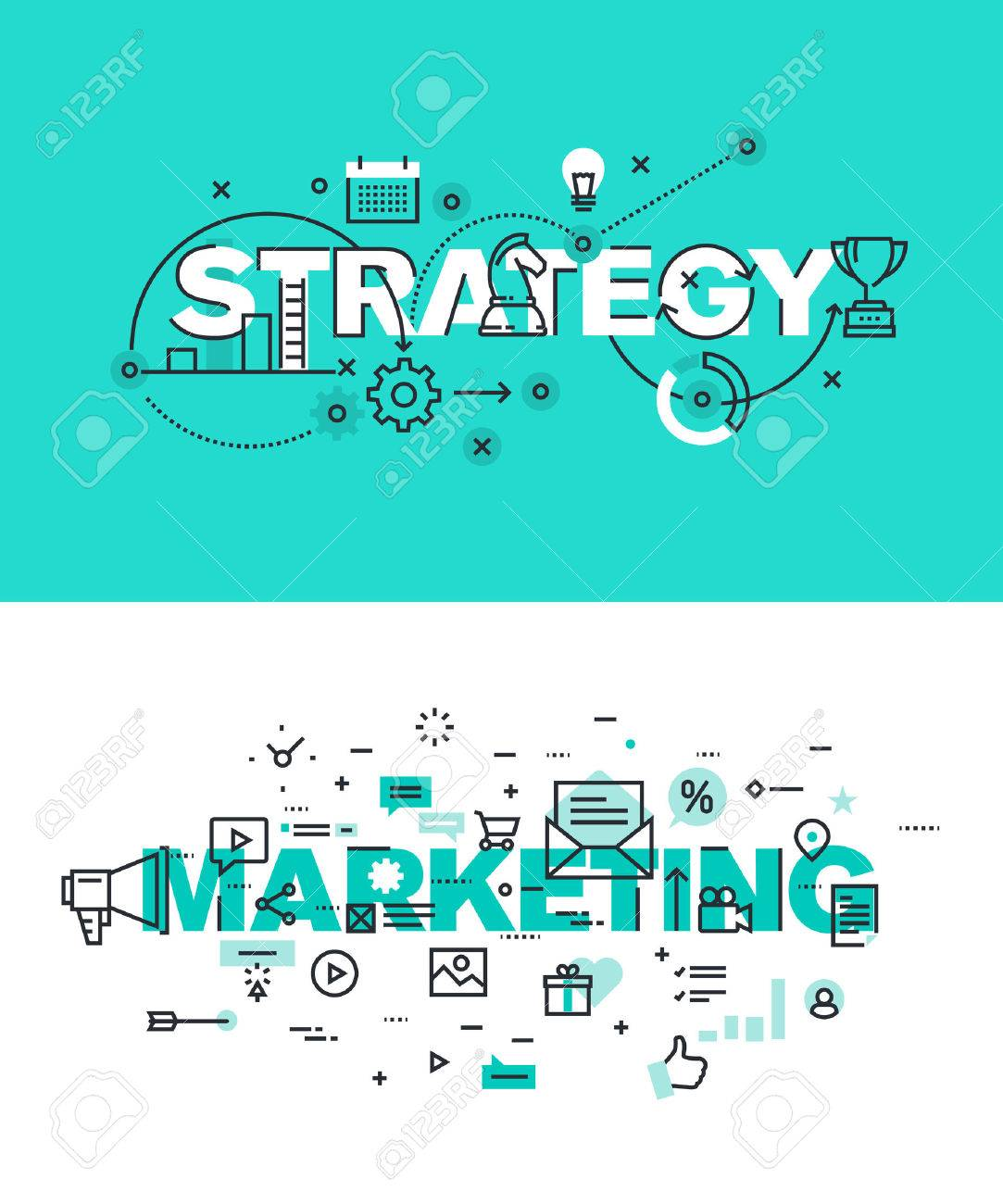 Set of modern vector illustration concepts of words strategy and marketing. Thin line flat design banners for website and mobile website, easy to use and highly customizable. Stock Vector - 51293352