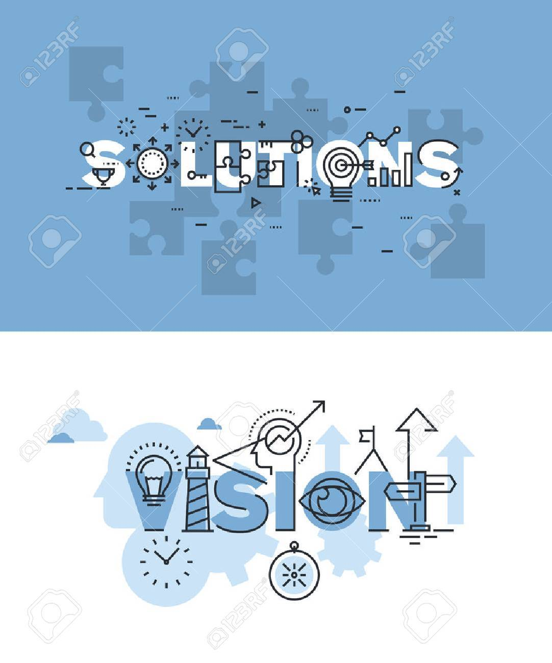 Set of modern vector illustration concepts of words solutions and vision. Thin line flat design banners for website and mobile website, easy to use and highly customizable. - 51293348