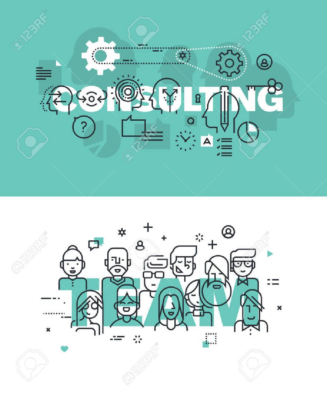 Set of modern vector illustration concepts of words consulting and team. Thin line flat design banners for website and mobile website, easy to use and highly customizable. Stock Vector - 51294092