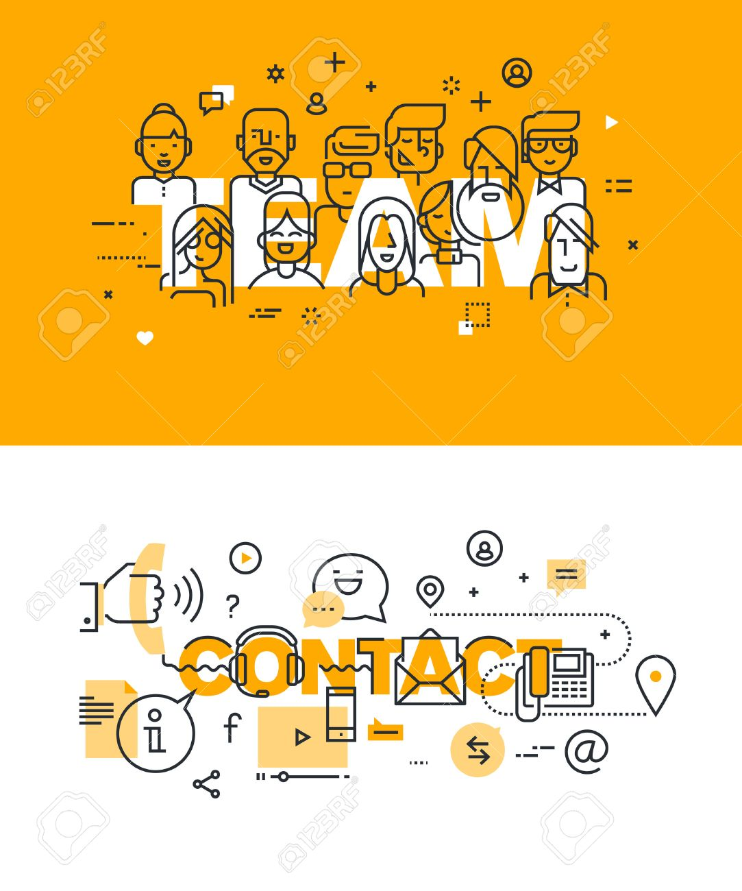 Set of modern vector illustration concepts of words team and contact. Thin line flat design banners for website and mobile website, easy to use and highly customizable. Stock Vector - 51293262