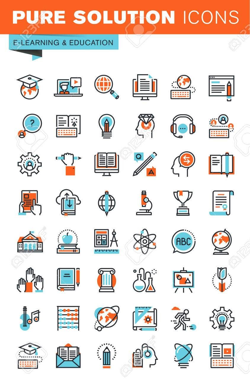 Thin line web icons for education, online training and courses, university and distance education, for websites and mobile websites and apps. Stock Vector - 51497021