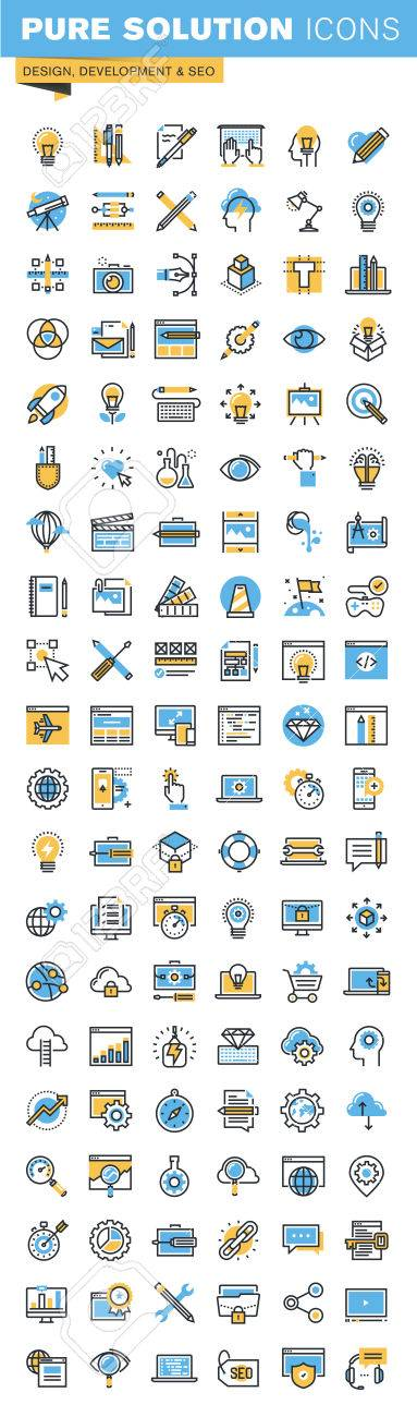 Set of thin line flat design icons of design, web development and seo. Icons for websites, mobile websites and apps, easy to use and highly customizable. Stock Vector - 52884977